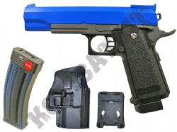 G6 BUNDLE Metal Airsoft BB Hand Gun Black and Blue with Holster/Belt Clip and Pellets